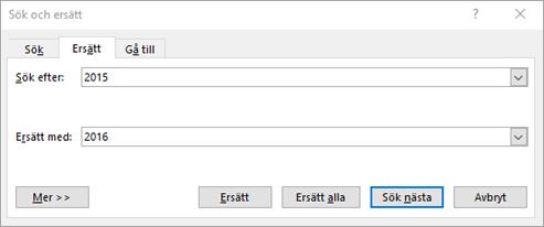 Söka efter och ersätta text