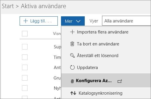 Menyn Mer på sidan Aktiva användare med Konfigurera Azure Multi-Factor Authentication markerat.