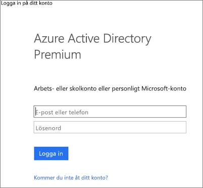 Ange dina administratörsautentiseringsuppgifter för Azure Active Directory