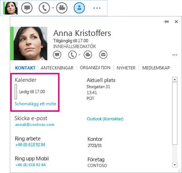 Skärmbild av en kontakts QuickLync och kontaktkort med kalender och schemalägg ett möte markerade