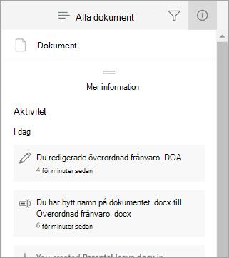 Informations fönstret med de senaste ändringarna