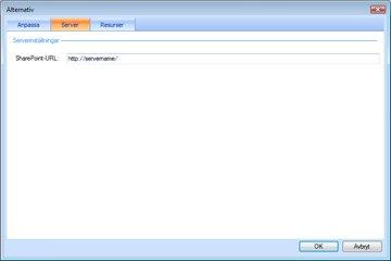 Fliken Server i alternativen för Instrumentpanelsdesignern.
