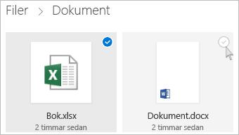 Skärmbild av hur du markerar en fil i OneDrive i panelvyn