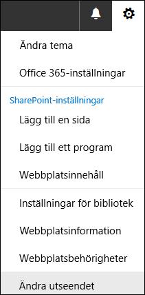 Skärmbild som visar menyalternativet Ändra utseende i SharePoint.