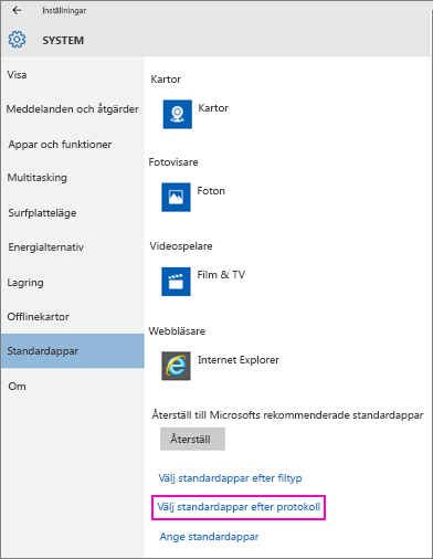 Skärmbild av inställningen Ange standardappar i Windows 10.