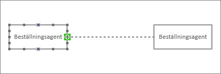 Slutet av kopplingslinje dras till en annan livslinje form med grön markering runt kopplingspunkt