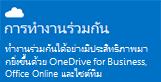 สกรีนช็อตของบานหน้าต่างการเริ่มต้นใช้งานการดูแลสำหรับการทำงานร่วมกัน รวมถึง OneDrive for Business, Office Online และไซต์ทีม คลิกเพื่อเปิดหัวข้อวิธีใช้ที่เกี่ยวข้อง