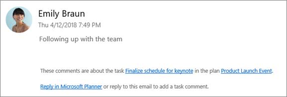 การจับภาพหน้าจอ: แสดงอีเมลของกลุ่มที่ผู้ร่วมงานกำลังตอบกลับข้อคิดเห็นแรก