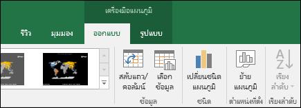 เครื่องมือ Ribbon แผนภูมิแผนที่ของ Excel