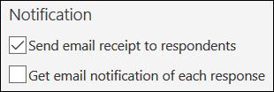 ตัวเลือกการส่งอีเมลที่แจ้งให้ทราบไปยังผู้ตอบฟอร์มในฟอร์ม Microsoft