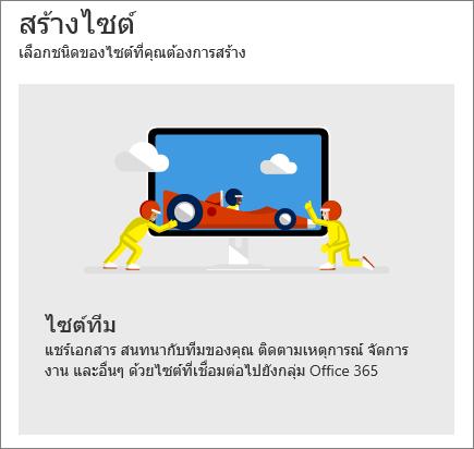 การสร้างไซต์ใน SharePoint Office 365