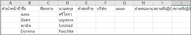 ตัวอย่างลักษณะของไฟล์ CSV หลังจากส่งออกผู้ติดต่อจาก Outlook