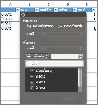 ตัวกรองสำหรับแผนภูมิใน Excel for Mac