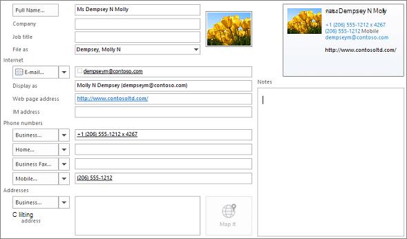 ใส่ข้อมูลบางส่วนในบัตรข้อมูลที่ติดต่อ Outlook