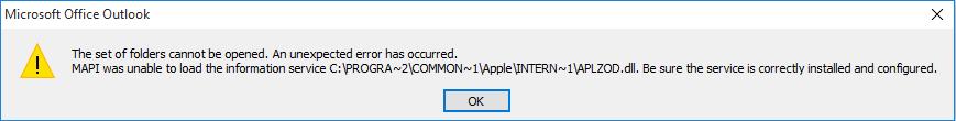 ข้อผิดพลาดใน Outlook