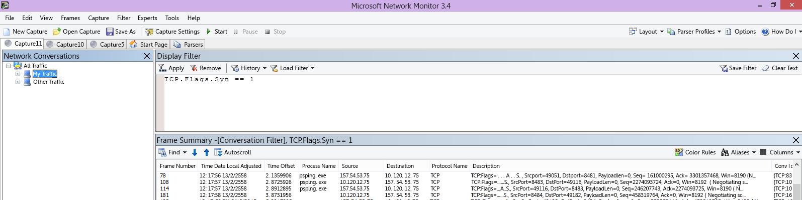 Netmon ติดตามจากไคลเอ็นต์แสดงคำสั่ง PSPing เดียวกันผ่านตัวกรอง TCP.Flags.Syn == 1