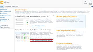 """คลิกลิงก์ """"เริ่มใช้ PerformancePoint Services"""" เพื่อเปิดเทมเพลตไซต์ PerformancePoint"""