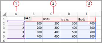 เขตข้อมูลใน Excel