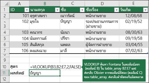 ตัวอย่าง VLOOKUP 1