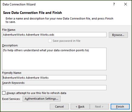 ตัวช่วยสร้างการเชื่อมต่อข้อมูล > บันทึกไฟล์การเชื่อมต่อข้อมูล และเสร็จสิ้น