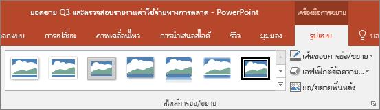 แสดงสไตล์การซูมและเอฟเฟ็กต์ต่างๆ ที่คุณสามารถเลือกในแท็บรูปแบบใน PowerPoint