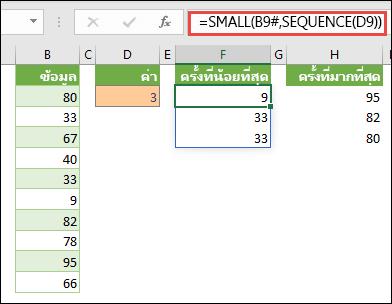 Excelอาร์เรย์เพื่อหาค่าที่น้อยที่สุดในอันดับ N: =SMALL(B9#,SEQUENCE(D9))