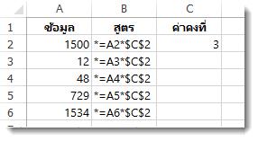 ตัวเลขในคอลัมน์ A สูตรในคอลัมน์ B พร้อมด้วยสัญลักษณ์ $ และตัวเลข 3 ในคอลัมน์ C