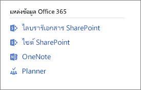 แสดงสกรีนช็อต Office 365 ทรัพยากร