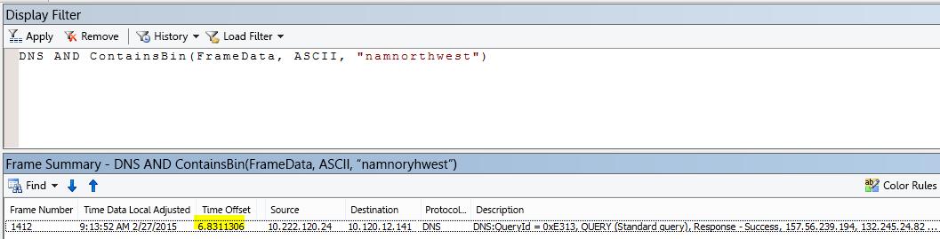 """ผลลัพธ์เพิ่มเติมของ Netmon ถูกกรองด้วย DNS และ CONTAINSBIN(Framedata, ASCII, """"namnorthwest"""") แสดงเวลาออฟเซตระหว่างการร้องขอและการตอบสนองที่ต่ำมาก"""