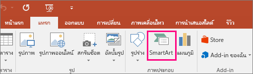 แสดงปุ่ม SmartArt ในแท็บ แทรก