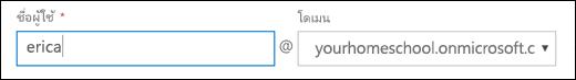 สกรีนช็อตของการเพิ่มผู้ใช้ใน Office 365 แสดงเขตข้อมูลชื่อผู้ใช้และโดเมน