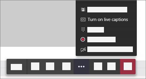 ตัวเลือกในการเปิด Live Captions ในตัวควบคุมการโทรของการประชุม
