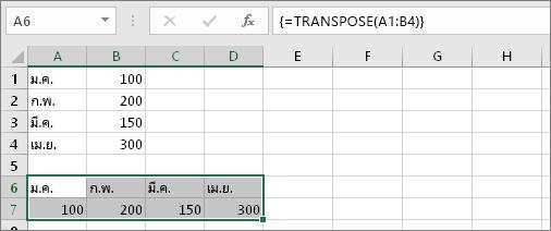 ผลลัพธ์ของสูตรที่เซลล์ A1:B4 สลับเปลี่ยนแถวกับคอลัมน์เป็นเซลล์ A6:D7