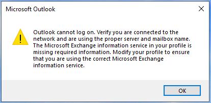 ไม่สามารถลงชื่อเข้าใช้ Outlook