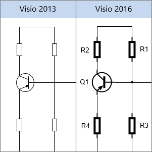 รูปร่างกระแสไฟฟ้าใน Visio 2013, รูปร่างกระแสไฟฟ้าใน Visio 2016