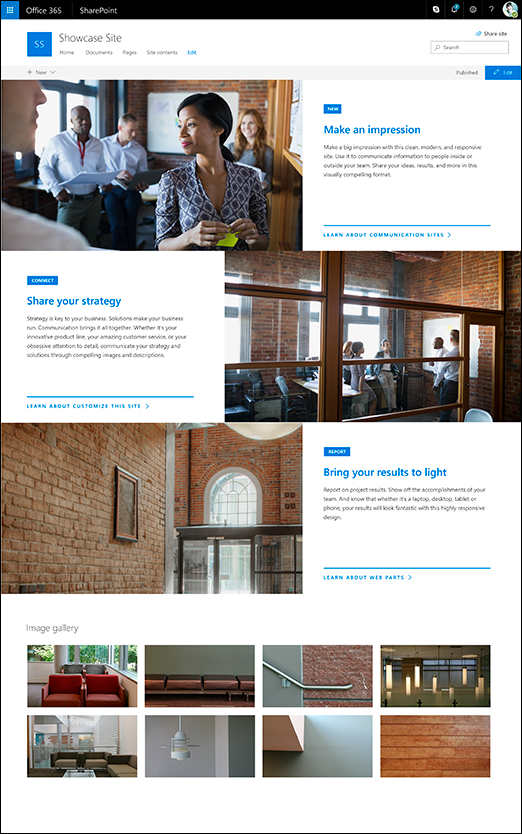 การออกแบบการแสดงภาพของไซต์การติดต่อสื่อสาร SharePoint