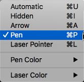 เลือกตัวชี้ปากกาจากเมนูป็อปอัพ