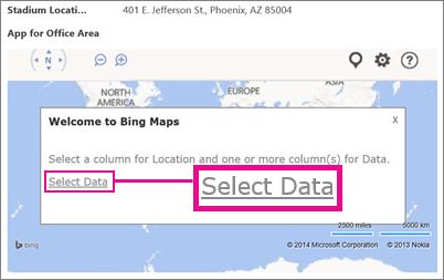 การเลือกข้อมูลสำหรับแอป Bing Maps สำหรับ Office ในแอป Access