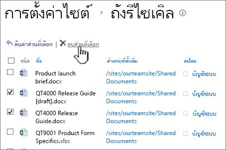 SharePoint 2013 2nd ระดับถังรีไซเคิลลบปุ่ม