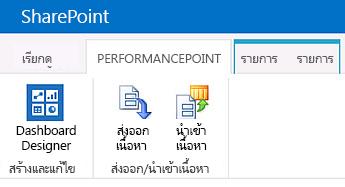 Ribbon สำหรับหน้า เนื้อหา ของ PerformancePoint ในไซต์ศูนย์ BI