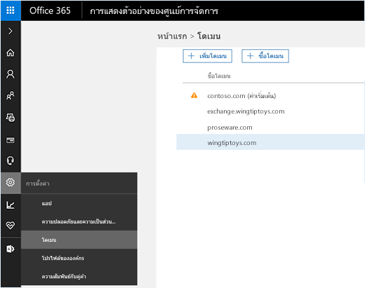 สกรีนช็อตแสดงศูนย์การจัดการ Office 365 ที่เลือกตัวเลือกโดเมนอยู่ ชื่อโดเมนจะแสดงบนหน้าพร้กอมตัวเลือกในการเพิ่มหรือซื้อโดเมน