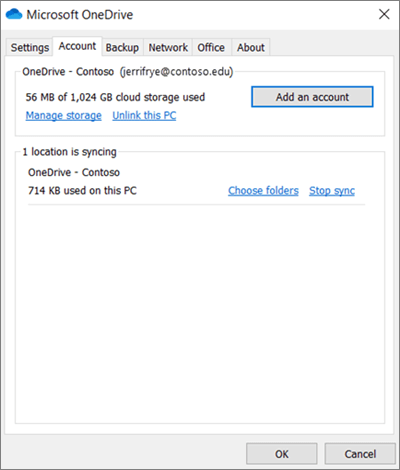 หน้าต่างการตั้งค่าเดสก์ท็อป OneDrive ที่คุณสามารถเพิ่มบัญชีผู้ใช้ได้