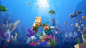 ภาพประกอบของโลก Minecraft ใต้น้ำ