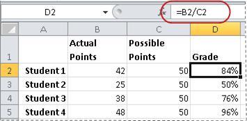 ตัวอย่างของสูตรสำหรับการคำนวณเปอร์เซ็นต์