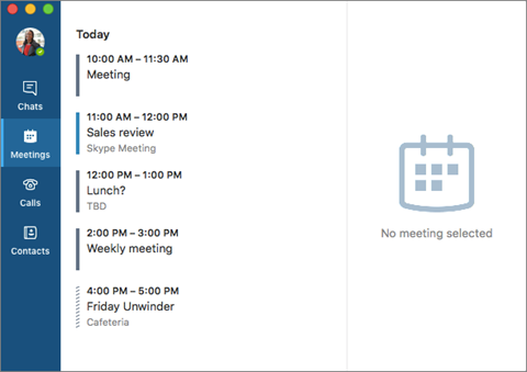 Skype for Business สำหรับ Mac หน้าต่างหลัก
