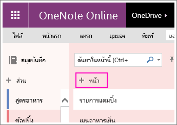 Screenshot of how to add a page in OneNote Online.