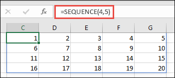 ตัวอย่างฟังก์ชัน SEQUENCE ที่มีอาร์เรย์ขนาด 4 x 5