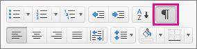 คลิกแสดงอักขระที่ไม่พิมพ์ออกมาทั้งหมดบนแท็บหน้าแรกเพื่อแสดงเครื่องหมายการจัดรูปแบบ