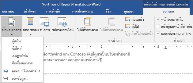 ตัวเลือก ข้อมูลเอกสาร จะแสดงตัวเลือกบนแท็บ เครื่องมือหัวกระดาษและท้ายกระดาษ