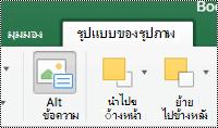 ปุ่มข้อความแสดงแทนสำหรับรูปภาพบน ribbon ใน Excel for Mac